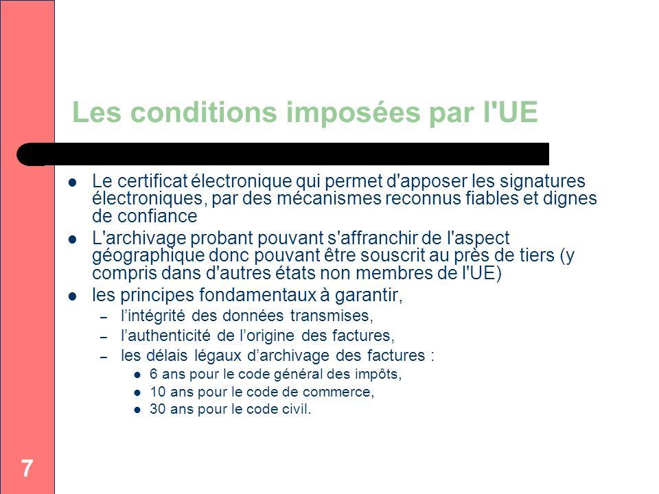 7 Les conditions imposées par l'UE Le certificat électronique qui permet d'apposer les signatures électroniques, par des mécanismes reconnus fiables e