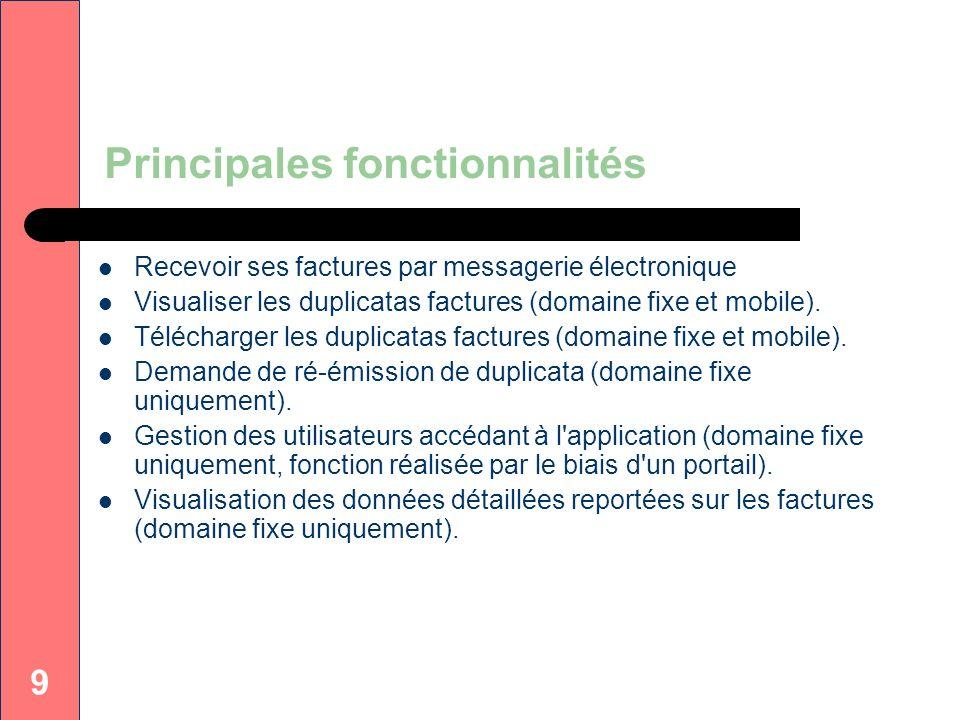 9 Principales fonctionnalités Recevoir ses factures par messagerie électronique Visualiser les duplicatas factures (domaine fixe et mobile). Télécharg