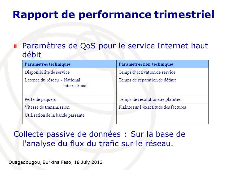 Ouagadougou, Burkina Faso, 18 July 2013 Rapport de performance trimestriel Paramètres de QoS pour le service Internet haut débit Collecte passive de d