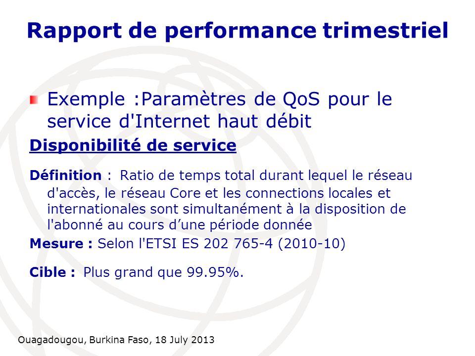 Ouagadougou, Burkina Faso, 18 July 2013 Rapport de performance trimestriel Exemple :Paramètres de QoS pour le service d'Internet haut débit Disponibil