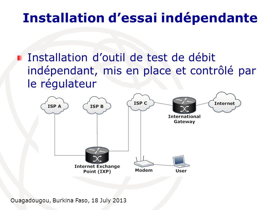 Ouagadougou, Burkina Faso, 18 July 2013 Installation dessai indépendante Installation doutil de test de débit indépendant, mis en place et contrôlé pa