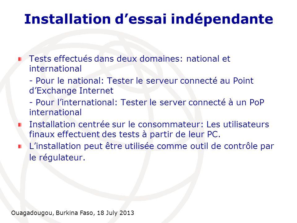 Ouagadougou, Burkina Faso, 18 July 2013 Installation dessai indépendante Tests effectués dans deux domaines: national et international - Pour le natio