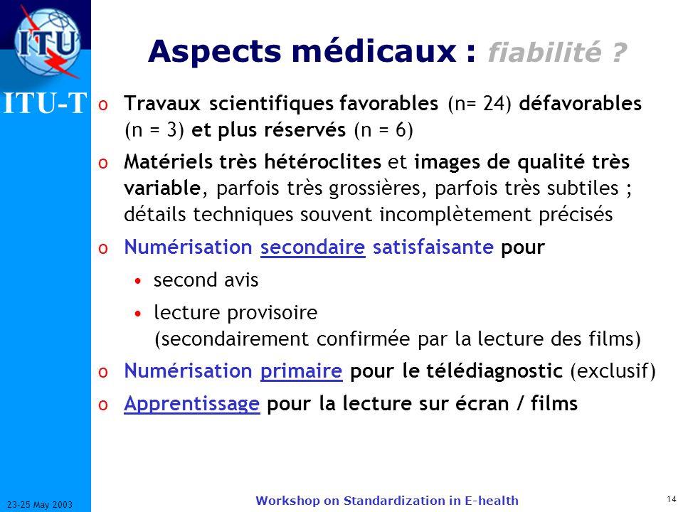 ITU-T 14 23-25 May 2003 Workshop on Standardization in E-health Aspects médicaux : fiabilité ? o Travaux scientifiques favorables (n= 24) défavorables