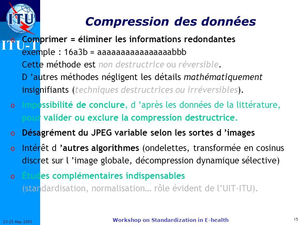 ITU-T 15 23-25 May 2003 Workshop on Standardization in E-health Compression des données o Comprimer = éliminer les informations redondantes exemple : 16a3b = aaaaaaaaaaaaaaaabbb Cette méthode est non destructrice ou réversible.