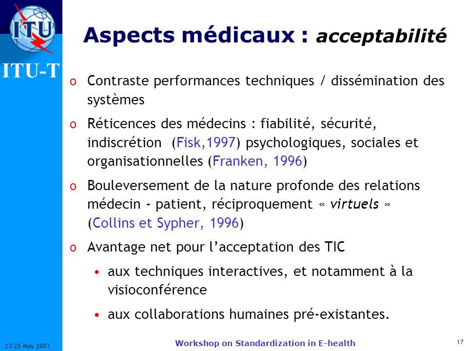 ITU-T 17 23-25 May 2003 Workshop on Standardization in E-health Aspects médicaux : acceptabilité o Contraste performances techniques / dissémination d