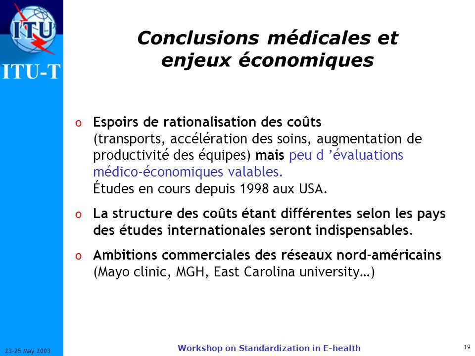 ITU-T 19 23-25 May 2003 Workshop on Standardization in E-health Conclusions médicales et enjeux économiques o Espoirs de rationalisation des coûts (transports, accélération des soins, augmentation de productivité des équipes) mais peu d évaluations médico-économiques valables.