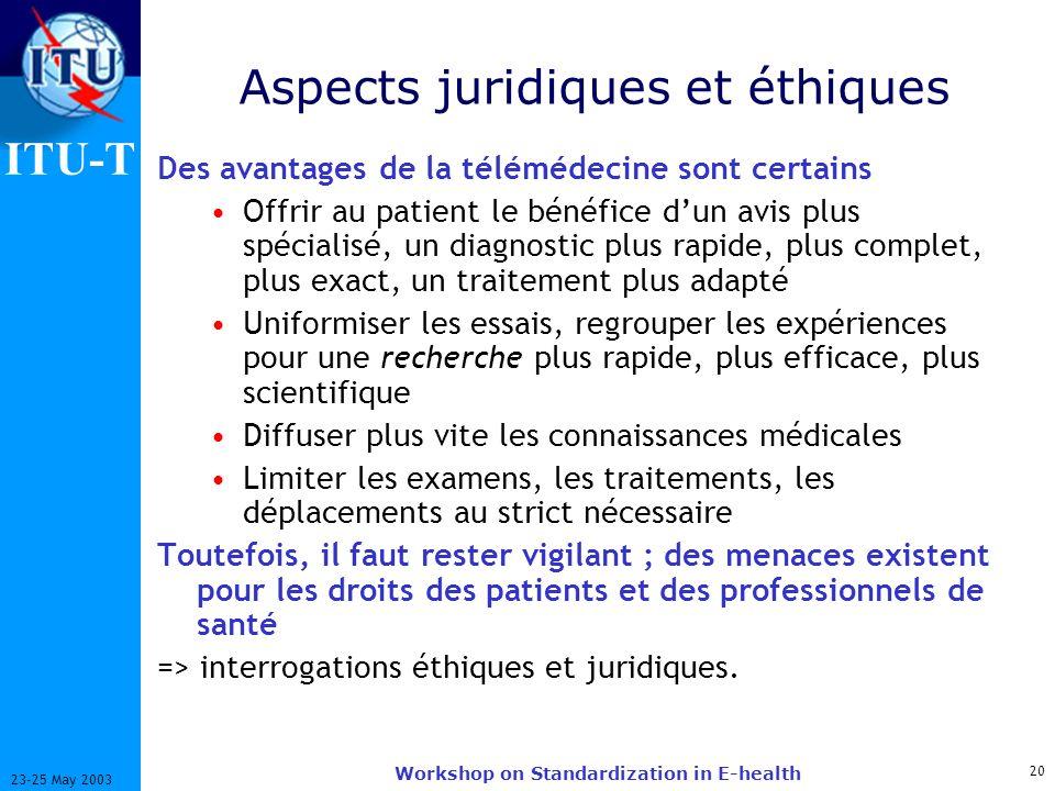 ITU-T 20 23-25 May 2003 Workshop on Standardization in E-health Aspects juridiques et éthiques Des avantages de la télémédecine sont certains Offrir a