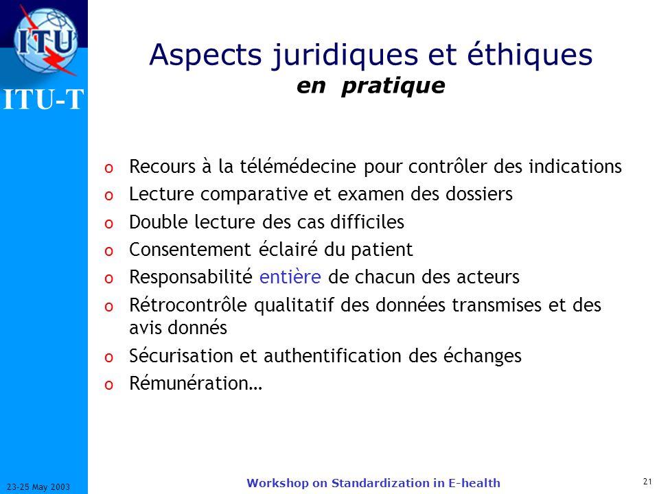 ITU-T 21 23-25 May 2003 Workshop on Standardization in E-health Aspects juridiques et éthiques en pratique o Recours à la télémédecine pour contrôler