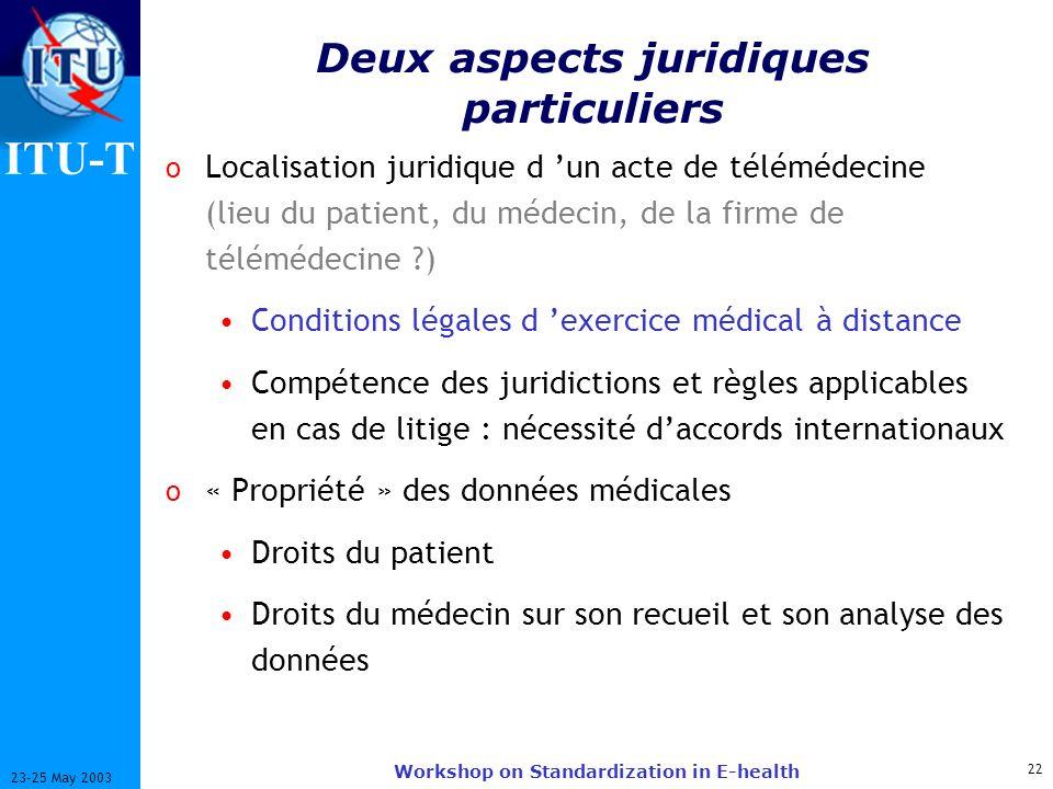 ITU-T 22 23-25 May 2003 Workshop on Standardization in E-health Deux aspects juridiques particuliers o Localisation juridique d un acte de télémédecin