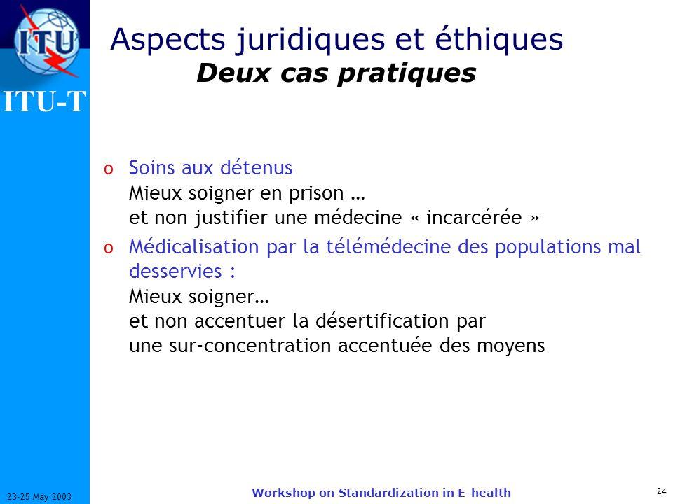 ITU-T 24 23-25 May 2003 Workshop on Standardization in E-health Aspects juridiques et éthiques Deux cas pratiques o Soins aux détenus Mieux soigner en
