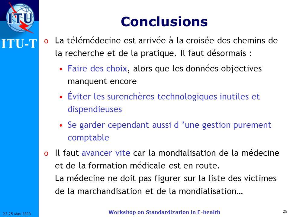 ITU-T 25 23-25 May 2003 Workshop on Standardization in E-health Conclusions o La télémédecine est arrivée à la croisée des chemins de la recherche et de la pratique.