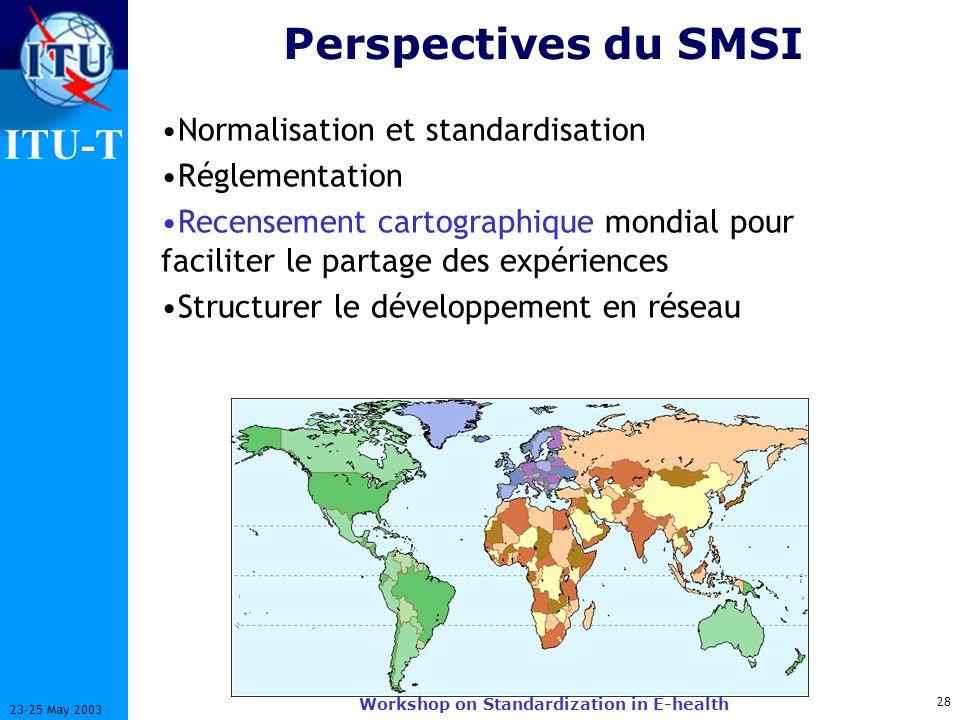 ITU-T 28 23-25 May 2003 Workshop on Standardization in E-health Perspectives du SMSI Normalisation et standardisation Réglementation Recensement cartographique mondial pour faciliter le partage des expériences Structurer le développement en réseau