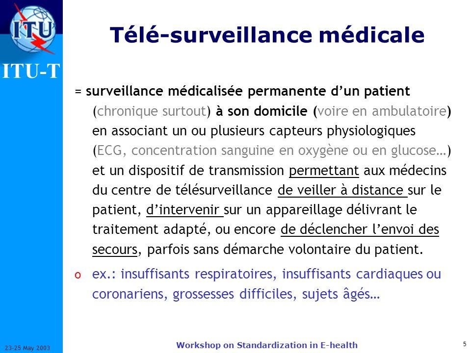 ITU-T 5 23-25 May 2003 Workshop on Standardization in E-health Télé-surveillance médicale = surveillance médicalisée permanente dun patient (chronique