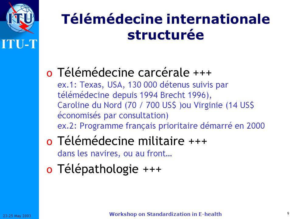 ITU-T 9 23-25 May 2003 Workshop on Standardization in E-health Télémédecine internationale structurée o Télémédecine carcérale +++ ex.1: Texas, USA, 130 000 détenus suivis par télémédecine depuis 1994 Brecht 1996), Caroline du Nord (70 / 700 US$ )ou Virginie (14 US$ économisés par consultation) ex.2: Programme français prioritaire démarré en 2000 o Télémédecine militaire +++ dans les navires, ou au front… o Télépathologie +++