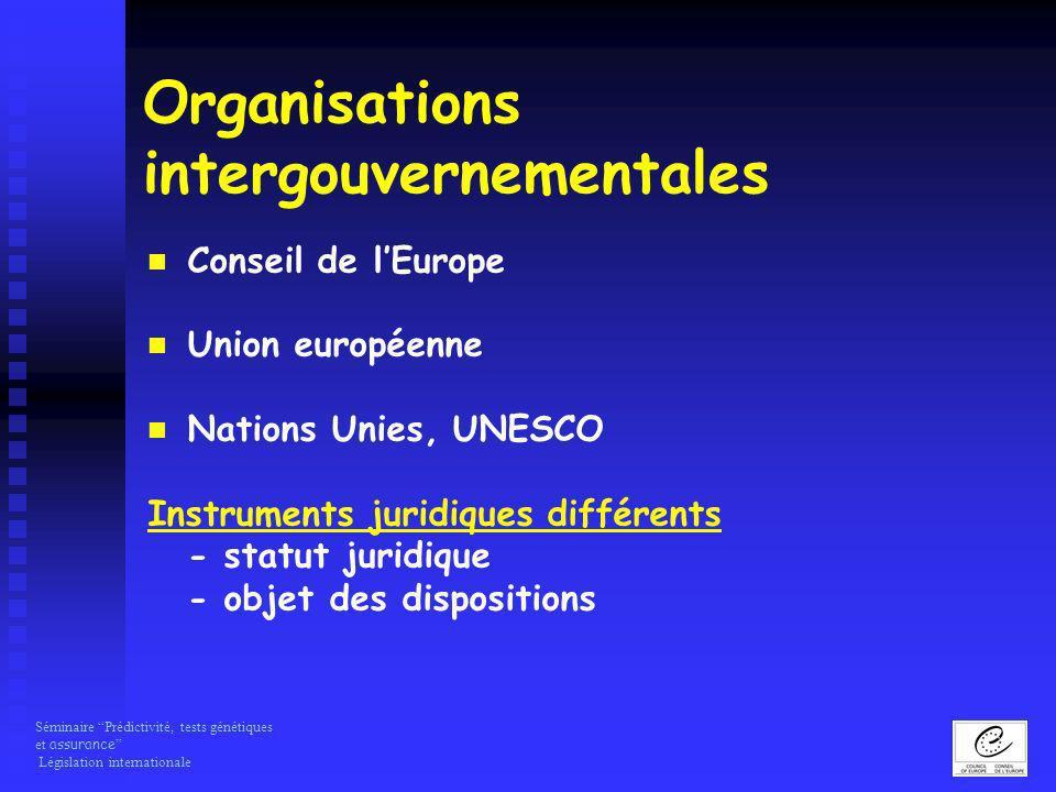 Séminaire Prédictivité, tests génétiques et assurance Législation internationale Organisations intergouvernementales Conseil de lEurope Union européen