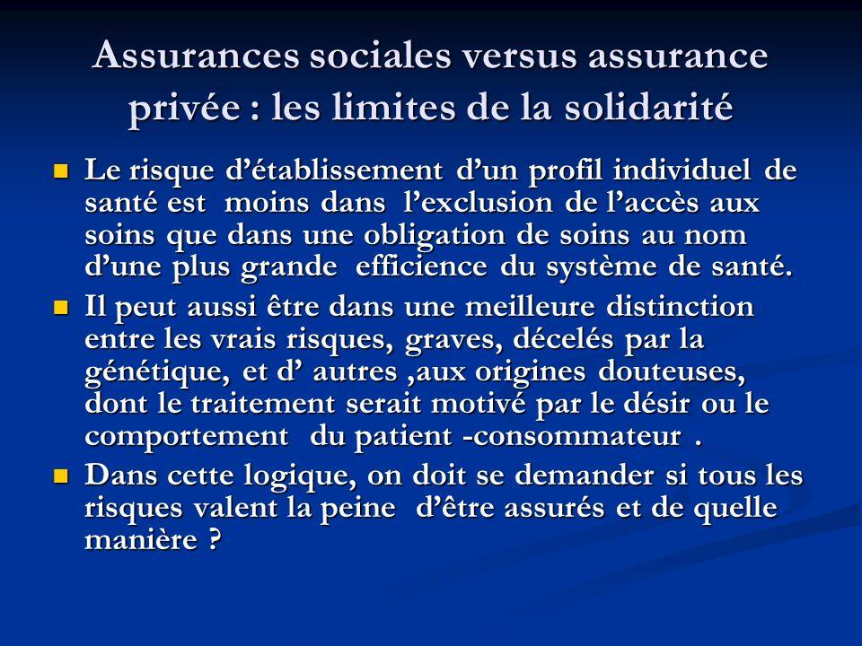Assurances sociales versus assurance privée : les limites de la solidarité Le risque détablissement dun profil individuel de santé est moins dans lexc