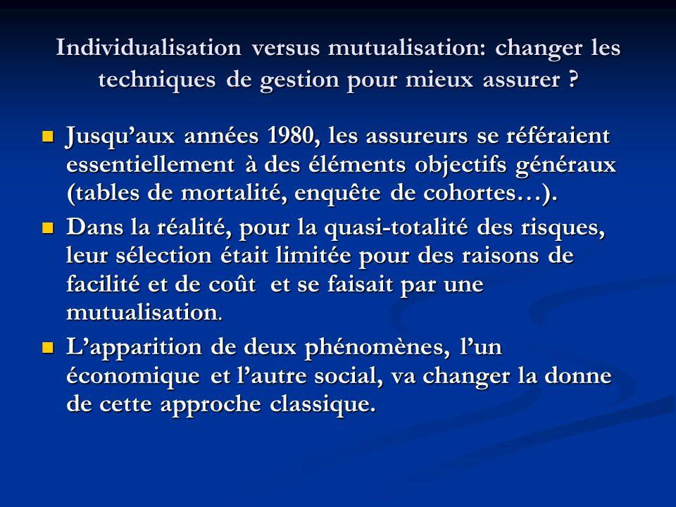 Individualisation versus mutualisation: changer les techniques de gestion pour mieux assurer ? Jusquaux années 1980, les assureurs se référaient essen