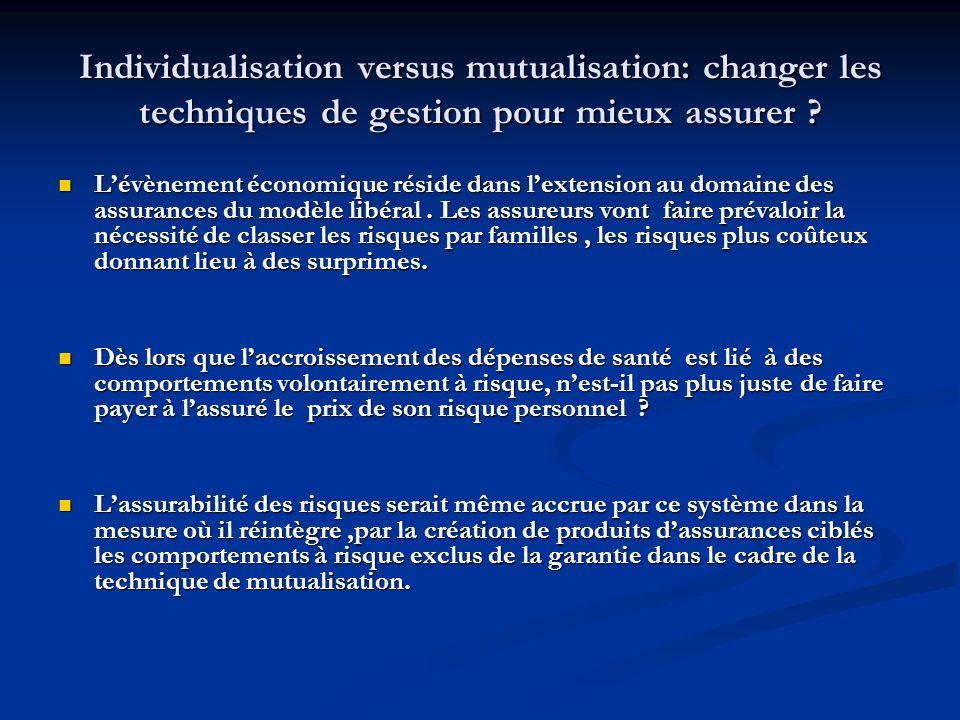 Individualisation versus mutualisation: changer les techniques de gestion pour mieux assurer ? Lévènement économique réside dans lextension au domaine