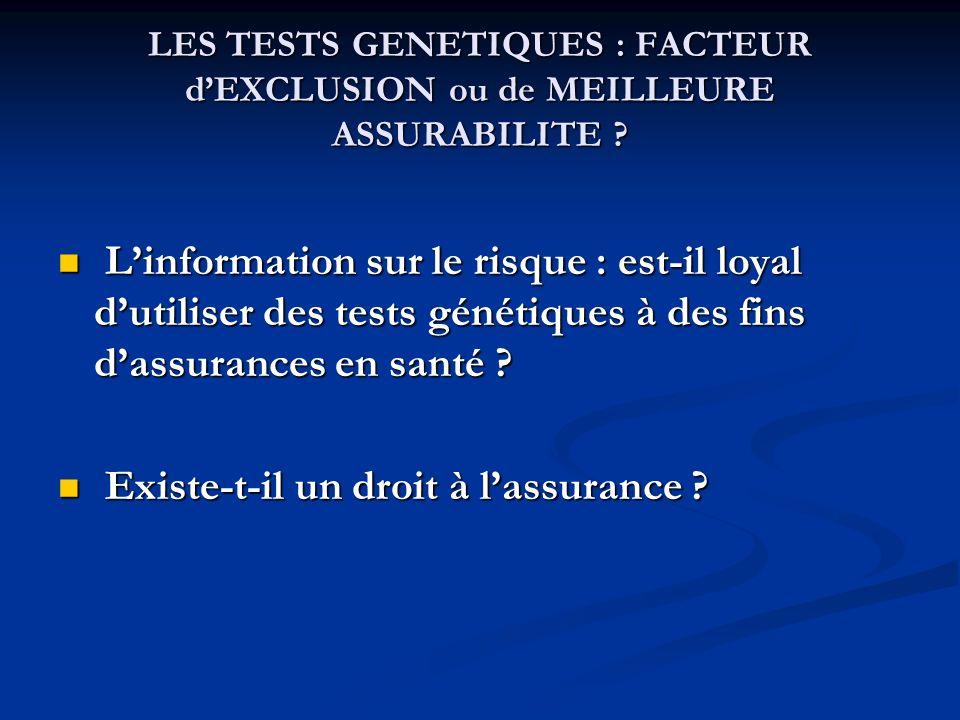 LES TESTS GENETIQUES : FACTEUR dEXCLUSION ou de MEILLEURE ASSURABILITE ? Linformation sur le risque : est-il loyal dutiliser des tests génétiques à de