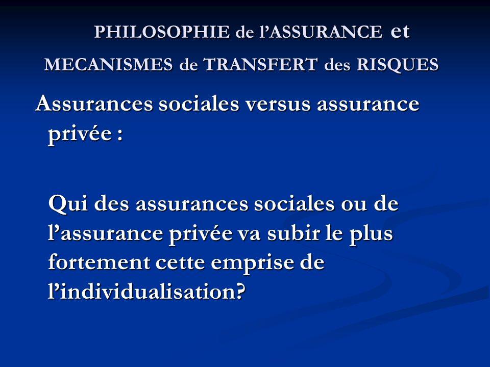 PHILOSOPHIE de lASSURANCE et MECANISMES de TRANSFERT des RISQUES PHILOSOPHIE de lASSURANCE et MECANISMES de TRANSFERT des RISQUES Assurances sociales