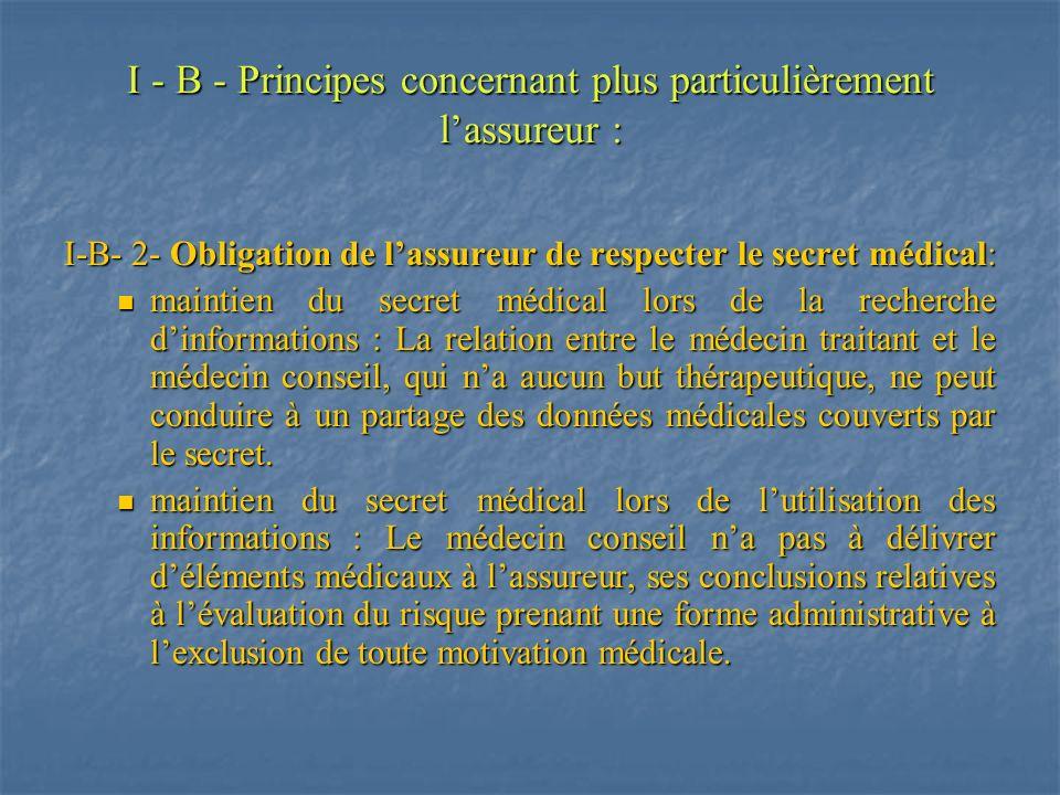 I - B - Principes concernant plus particulièrement lassureur : I-B- 2- Obligation de lassureur de respecter le secret médical: maintien du secret médi