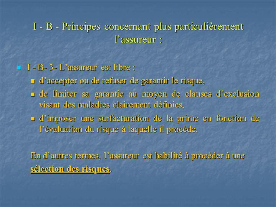 I - B - Principes concernant plus particulièrement lassureur : I - B- 3- Lassureur est libre : I - B- 3- Lassureur est libre : daccepter ou de refuser