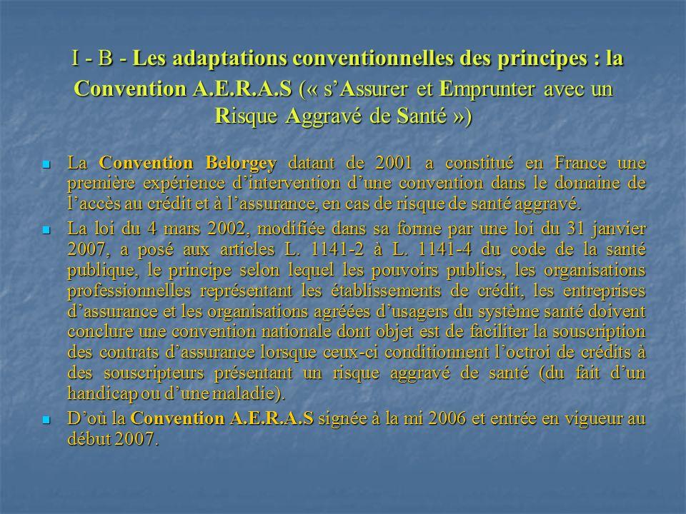 I - B - Les adaptations conventionnelles des principes : la Convention A.E.R.A.S (« sAssurer et Emprunter avec un Risque Aggravé de Santé ») I - B - L