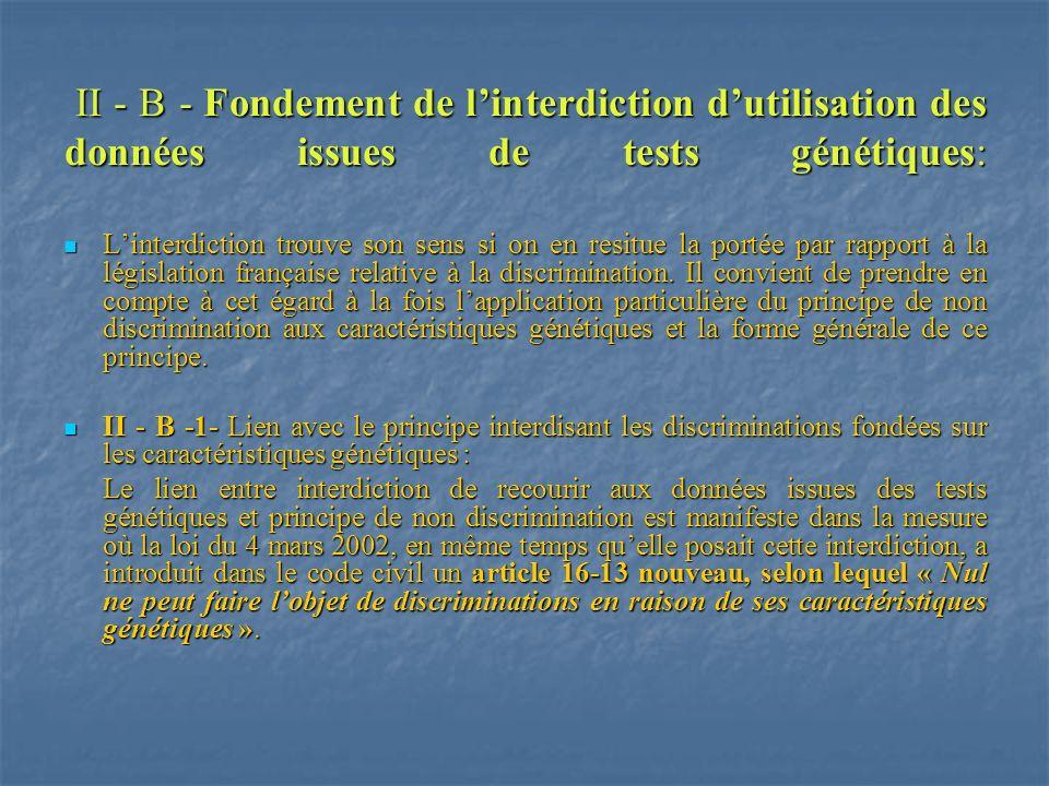 II - B - Fondement de linterdiction dutilisation des données issues de tests génétiques: II - B - Fondement de linterdiction dutilisation des données