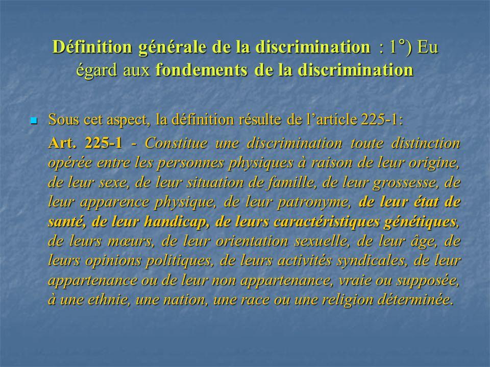 Définition générale de la discrimination : 1°) Eu égard aux fondements de la discrimination Sous cet aspect, la définition résulte de larticle 225-1: