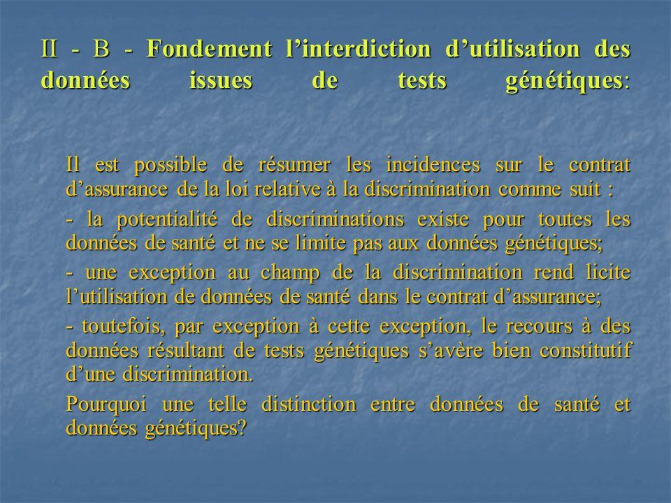 II - B - Fondement linterdiction dutilisation des données issues de tests génétiques: Il est possible de résumer les incidences sur le contrat dassura