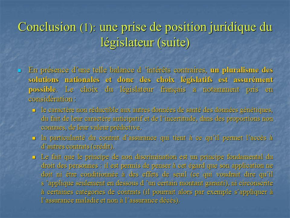 Conclusion (1): une prise de position juridique du législateur (suite) En présence dune telle balance d intérêts contraires, un pluralisme des solutio
