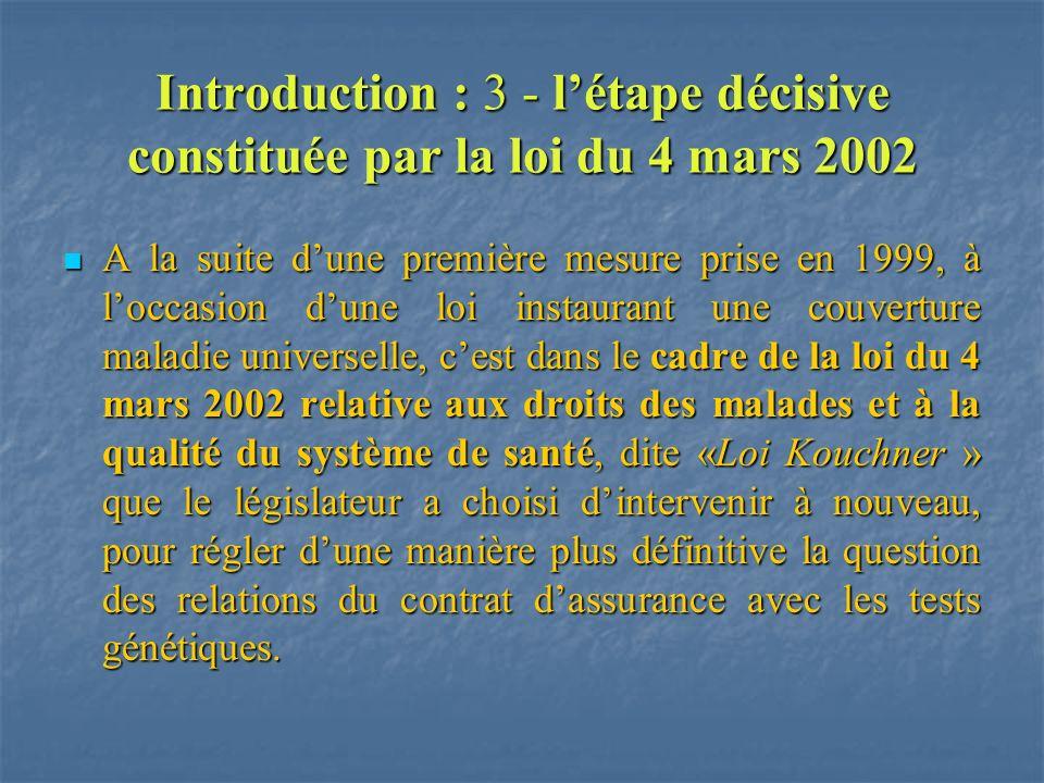 Introduction : 3 - létape décisive constituée par la loi du 4 mars 2002 A la suite dune première mesure prise en 1999, à loccasion dune loi instaurant