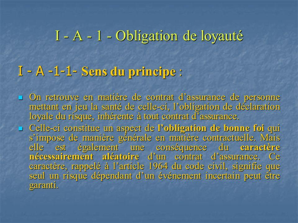 I - A - 1- Obligation de loyauté I - A -1-2- Sanctions de lobligation : Le code des assurances distingue : Le code des assurances distingue : la réticence ou fausse déclaration intentionnelle de lassuré (art.