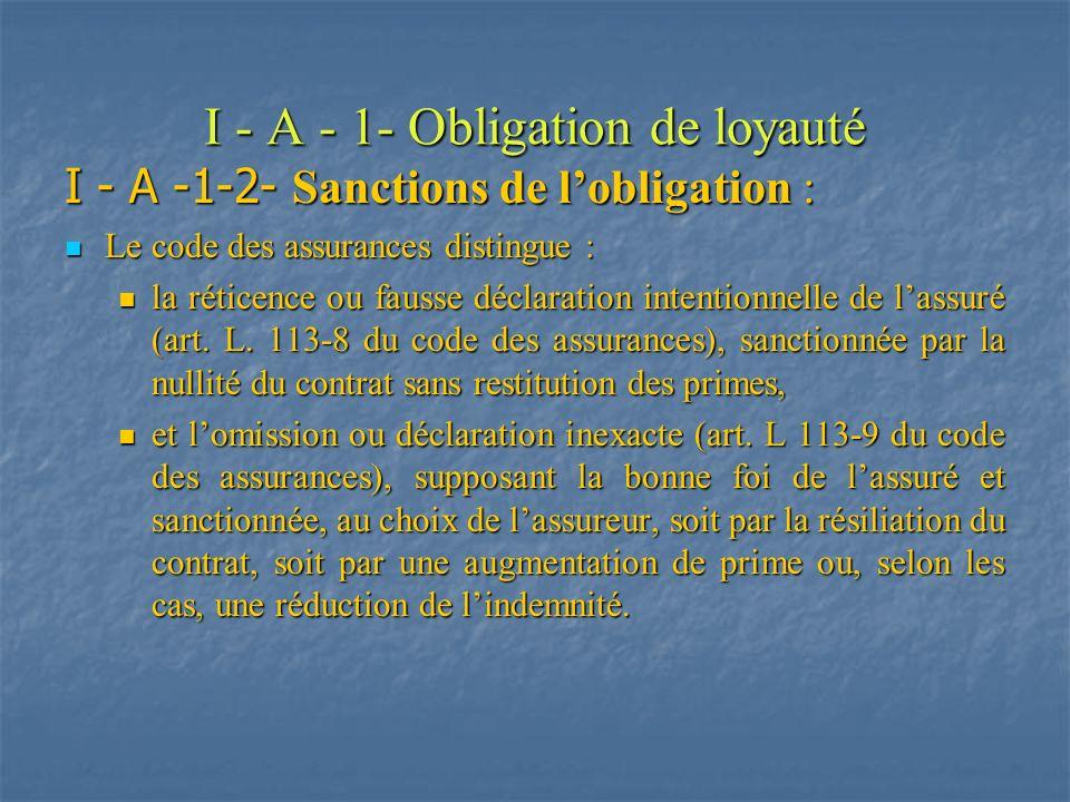 I - A - 1- Obligation de loyauté I - A -1-2- Sanctions de lobligation : Le code des assurances distingue : Le code des assurances distingue : la rétic