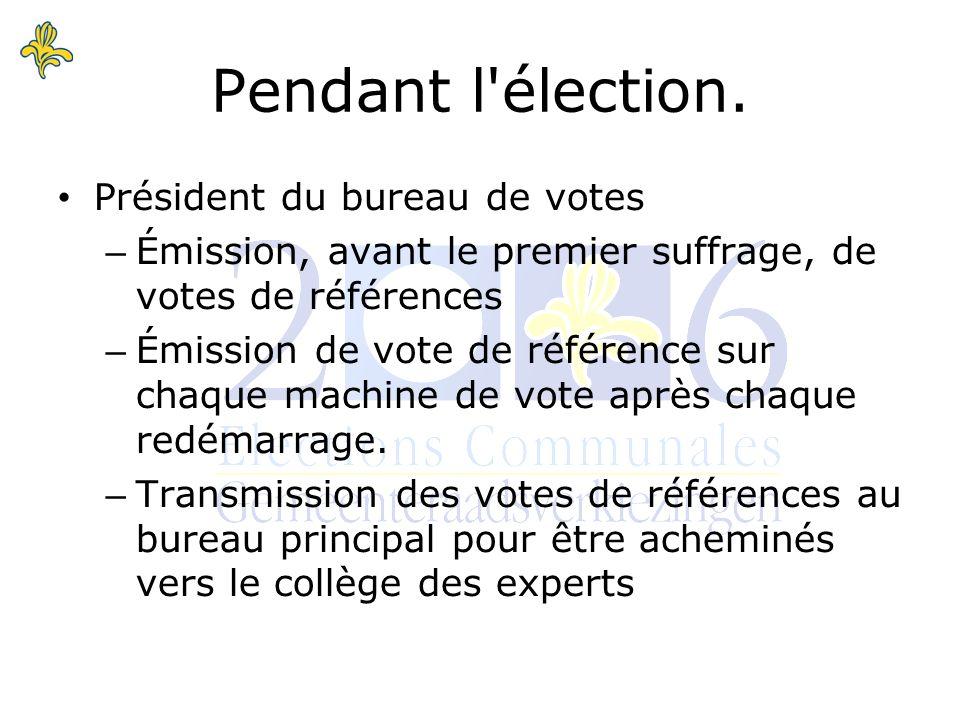 Pendant l élection.