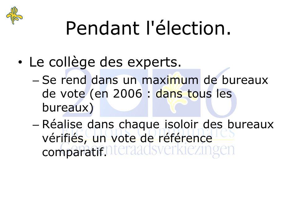 Pendant l élection. Le collège des experts.