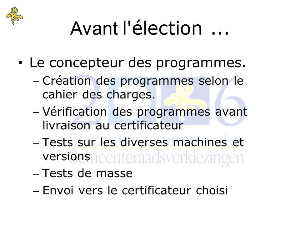 Le certificateur.– Analyse des codes sources. – Tests de masse sur les diverses configurations.