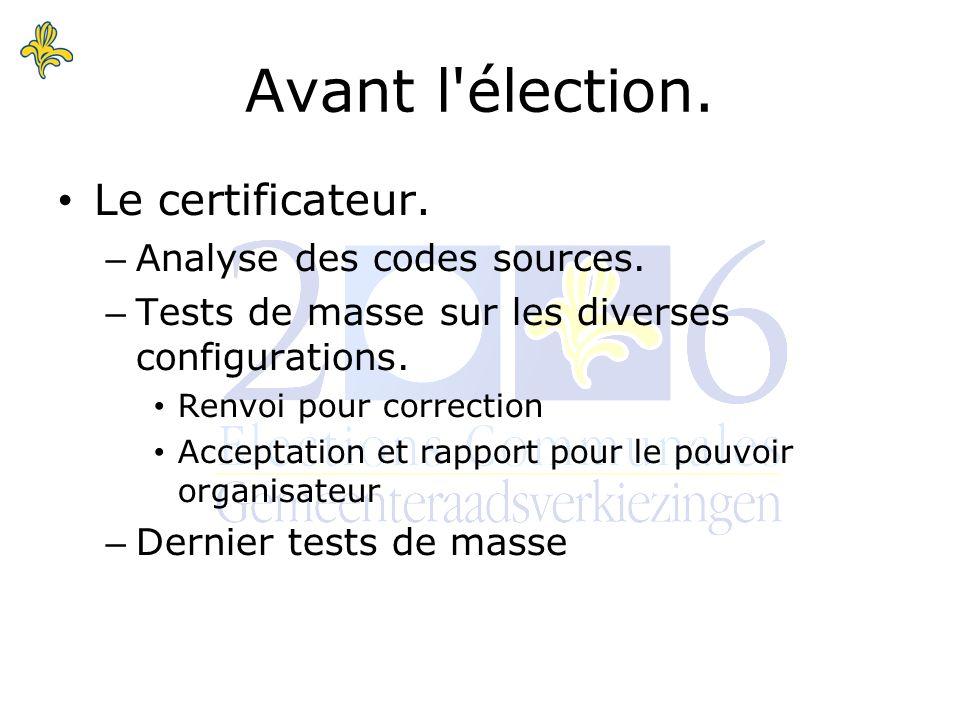 Le certificateur. – Analyse des codes sources. – Tests de masse sur les diverses configurations.