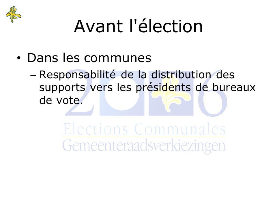 Avant l élection Dans les communes – Responsabilité de la distribution des supports vers les présidents de bureaux de vote.