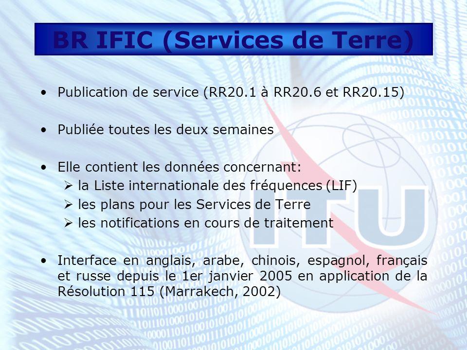 Conclusions Informations utiles à des fins de gestion des fréquences Vérification des informations publiées Coordination Une (01) copie gratuite pour chaque Membre http://www.itu.int/ITU-R/publications/brific- ter/index-fr.html