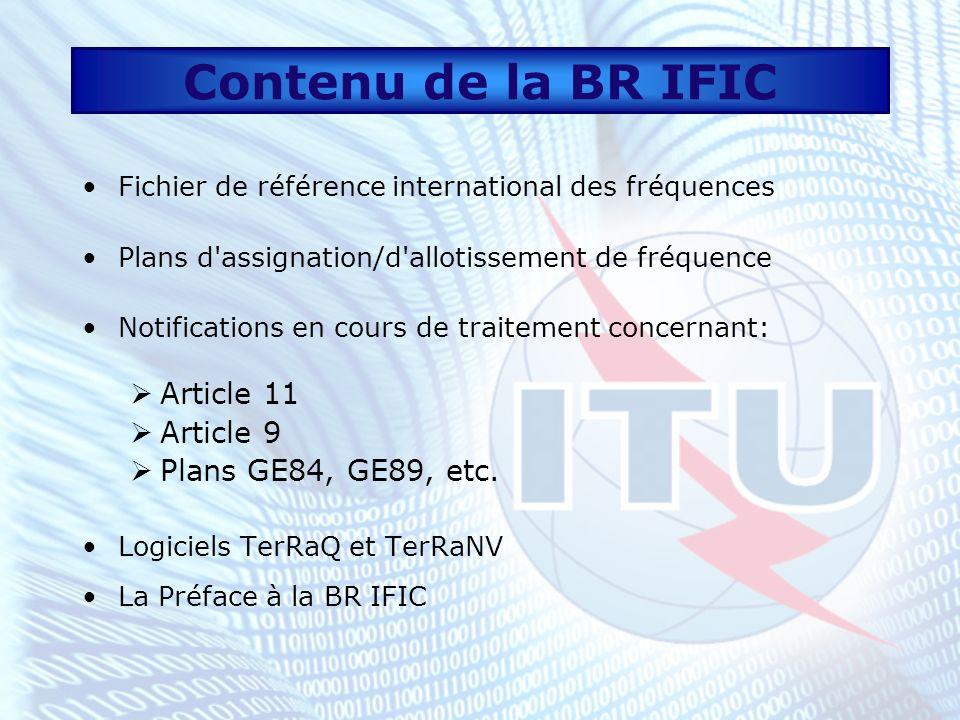 Base de données La base de données est subdivisée en trois parties: FM/TV (sonore VHF et télévisuelle VHF/UHF) LF/MF (radiodiffusion sonore LF/MF) FXM (Services fixe et mobile) Chaque partie est composée de 2 sous-ensembles: Assignations (MIFR et PLANS) Transactions en cours de traitement (TIP)