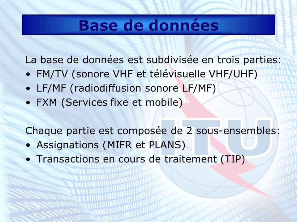 Base de données (suite) FMTV: Elle contient les transactions en cours de traitement et les assignations enregistrées selon larticle 11 (NTFD_RR) et les accords régionaux suivants: ST61 (sonore VHF et télévisuelle VHF/UHF) GE84 (radiodiffusion sonore VHF) GE89 (radiodiffusion télévisuelle VHF/UHF)