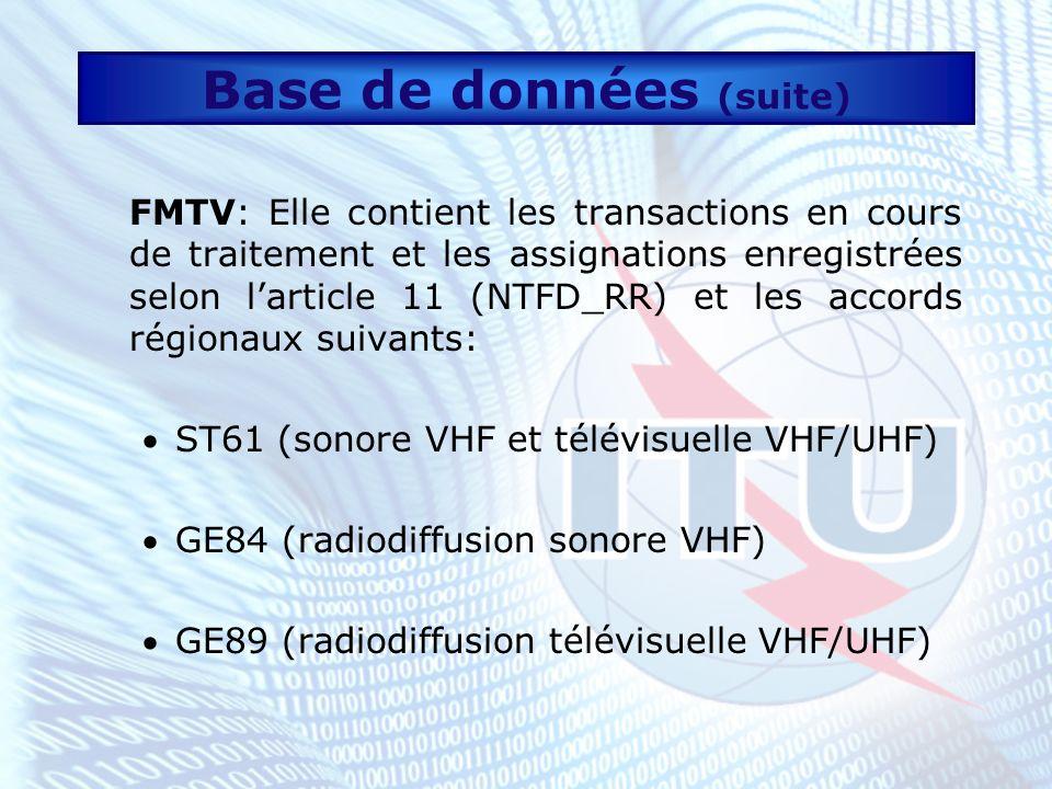Base de données (suite) LF/MF: Elle contient les transactions en cours de traitement et les assignations enregistrées selon larticle 11 (NTFD_RR) et les accords régionaux suivants: GE75 (sonore LF/MF, Régions 1 et 3) RJ81 (radiodiffusion sonore MF, Région 2)
