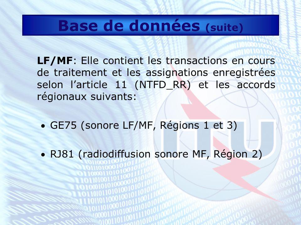 Base de données (suite) FXM: Elle contient les transactions en cours de traitement, les assignations et les allocations selon larticle 11 (NTFD_RR) et les accords régionaux suivants: AP25 (Plan d allotissement de fréquences aux stations côtières radiotéléphoniques fonctionnant dans les bandes exclusives du service mobile maritime entre 4 000 kHz et 27 500 kHz) AP26 (Plan d allotissement de fréquences pour le service mobile aéronautique (OR) dans les bandes attribuées en exclusivité à ce service entre 3 025 kHz et 18 030 kHz) AP27 (Plan d allotissement de fréquences pour le service mobile aéronautique (R))