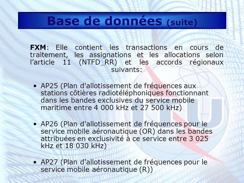 Base de données (suite) FXM (suite) GE85M (Plan d assignation des fréquences régi par l Accord régional concernant les services mobile maritime et de radionavigation aéronautique en ondes hectométriques (Région 1), Genève 1985) GE85N (Plan d assignation des fréquences régi par l Accord régional relatif à la planification du service de radionavigation maritime (radiophares) dans la Zone européenne maritime, Genève 1985) La partie FXM inclut aussi les fréquences communes