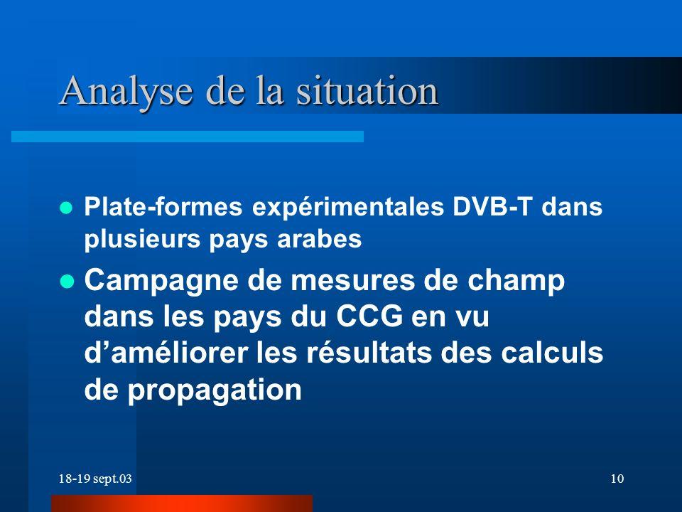 18-19 sept.0310 Plate-formes expérimentales DVB-T dans plusieurs pays arabes Campagne de mesures de champ dans les pays du CCG en vu daméliorer les résultats des calculs de propagation Analyse de la situation