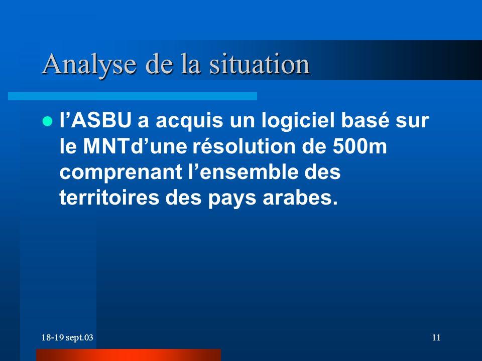 18-19 sept.0311 lASBU a acquis un logiciel basé sur le MNTdune résolution de 500m comprenant lensemble des territoires des pays arabes.