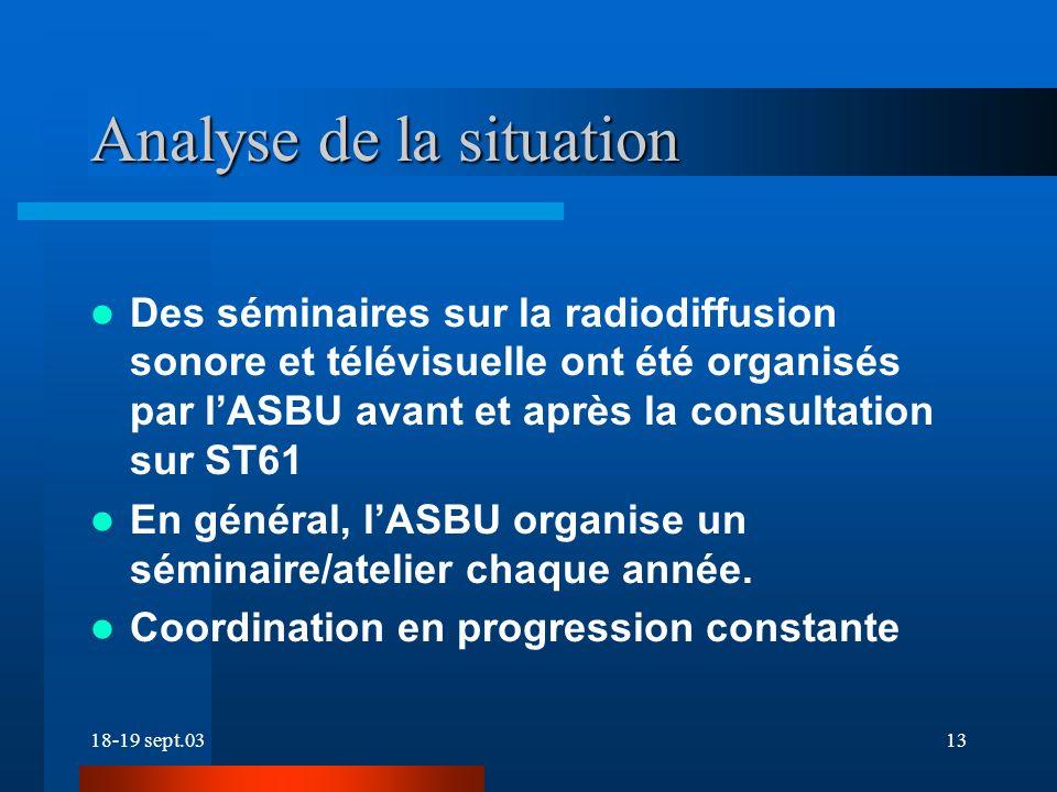 18-19 sept.0313 Analyse de la situation Des séminaires sur la radiodiffusion sonore et télévisuelle ont été organisés par lASBU avant et après la consultation sur ST61 En général, lASBU organise un séminaire/atelier chaque année.