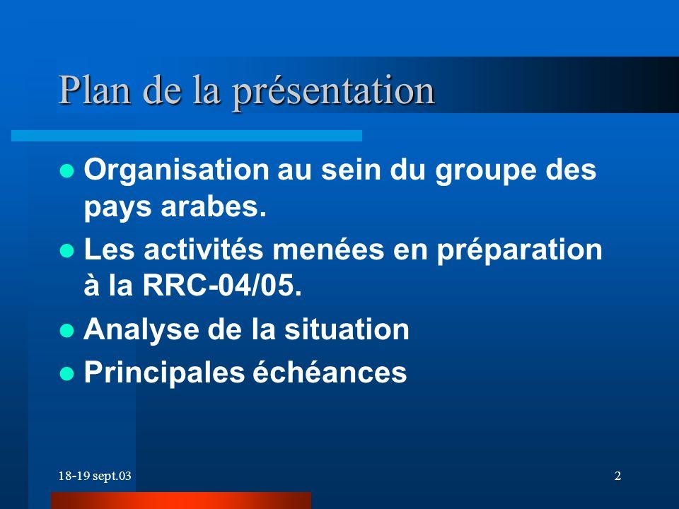 18-19 sept.032 Plan de la présentation Organisation au sein du groupe des pays arabes.
