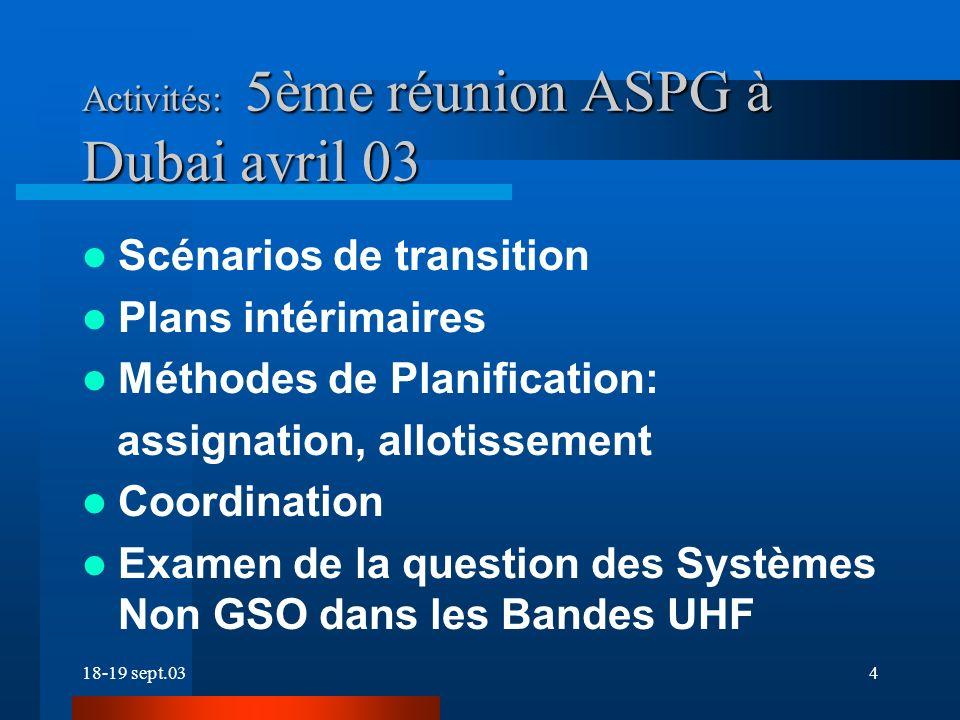 18-19 sept.034 Activités: 5ème réunion ASPG à Dubai avril 03 Scénarios de transition Plans intérimaires Méthodes de Planification: assignation, allotissement Coordination Examen de la question des Systèmes Non GSO dans les Bandes UHF